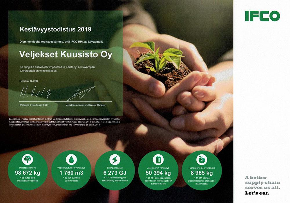 IFCO Veljekset Kuusisto kestävyystodistus 2019